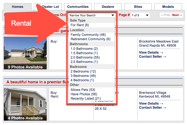 Finding Rental Homes on MHV