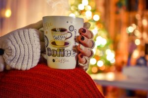 Warm beverages and blankets to keep warm in your mobile home