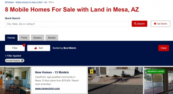 Find manufactured homes on private land