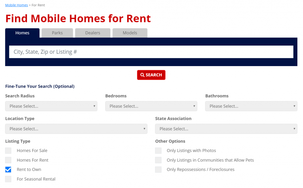 Rent-to-Own Mobile Homes