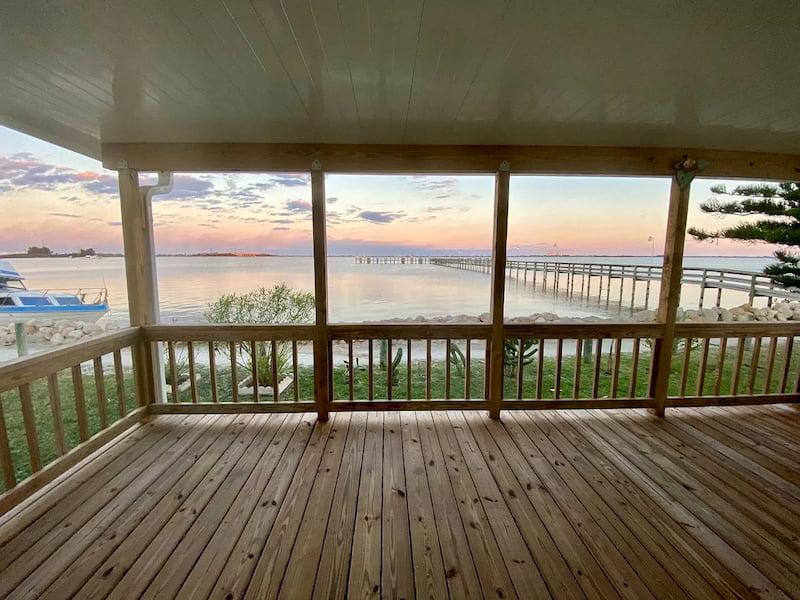 Waterfront manufactured home in Merritt Island, FL deck view