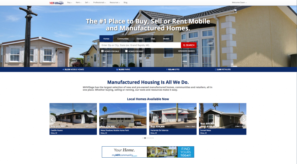 the MHVillage home page