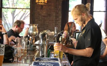 Find a Louisville hot spot for client drinks and food.