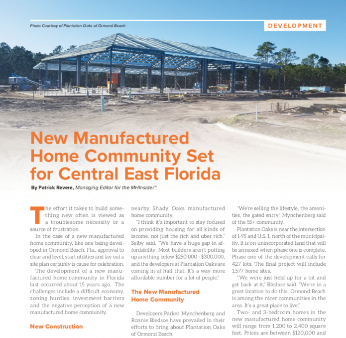 MHInsider Magazine covers the manufactured housing industry